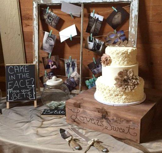 rustic style 3 tier wedding cake